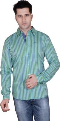 Denimize Men's Striped Casual Light Green Shirt