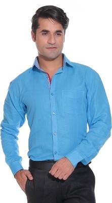 Rebel Men's Solid Casual Linen Light Blue Shirt