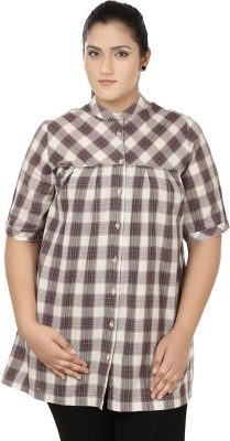 Eves Pret A Porter Women's Checkered Casual Purple, Brown Shirt