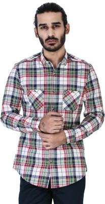 Mr Button Men's Checkered Casual Blue Shirt