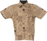 Le Luxe Boys Printed Casual Beige Shirt