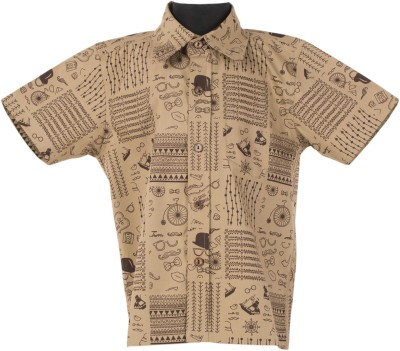 Le Luxe Boy's Printed Casual Beige Shirt