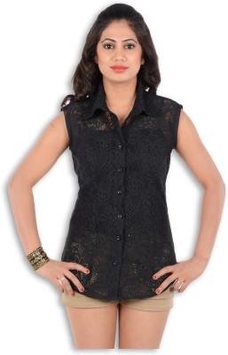 S9 Women's Self Design Casual, Beach Wear, Formal Black Shirt