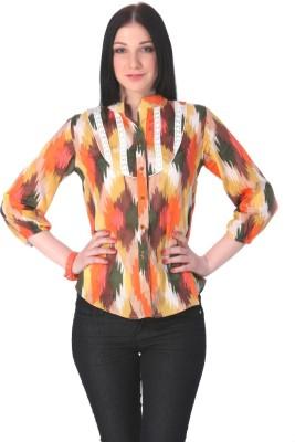 Rediscover Fashion Women's Printed Casual Orange Shirt