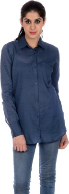 House of Tantrums Women's Solid Casual Blue Shirt