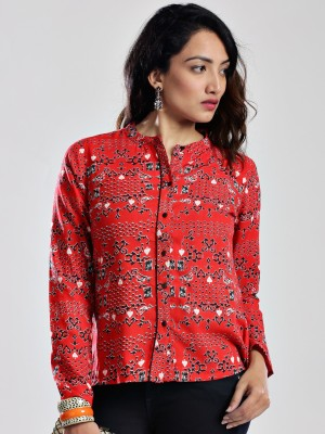 Anouk Women's Printed Casual Red Shirt
