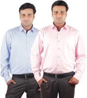 Riparv Formal Shirts (Men's) - Riparv Men's Solid Formal Pink, Light Blue Shirt(Pack of 2)