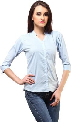 Cation Women's Solid Formal Blue Shirt at flipkart