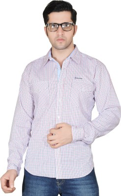 Denimize Men's Checkered Casual White Shirt