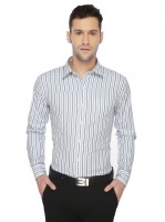 Markrich Formal Shirts (Men's) - MARKRICH Men's Striped Formal Light Blue, White Shirt