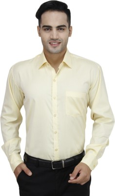 Da Vinci Men's Solid Formal Yellow Shirt