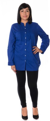 Urban Religion Women's Solid Casual Blue Shirt