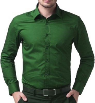 UNO COTTON Men's Solid Formal Green Shirt
