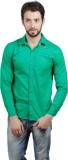 Alnik Men's Solid Formal Green Shirt