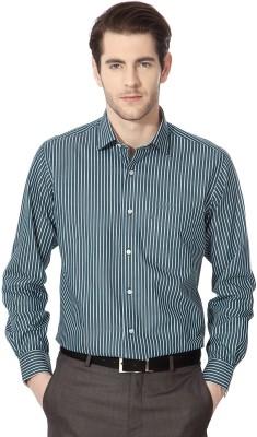 Van Heusen Men's Striped Casual Green Shirt