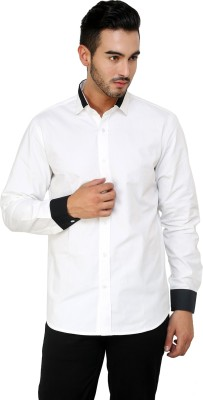 See Designs Men's Solid Casual Reversible White Shirt