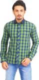 Success Men's Checkered Casual Green Shi...