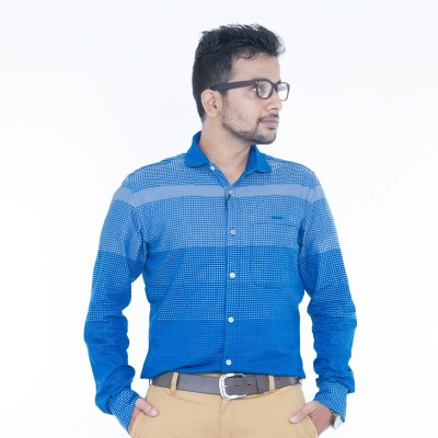 Passion Men's Checkered Casual Blue Shirt