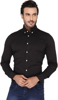 Mode De Base Italie Men's Solid Casual Black Shirt