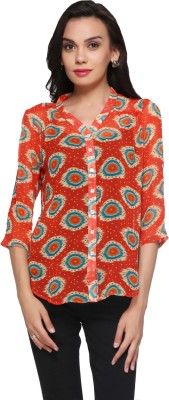 Delfe Women's Printed Casual Red Shirt