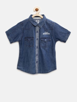 Yk Boy's Solid Casual Blue Shirt