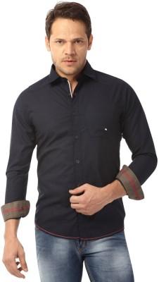 Club Fox Men's Solid Casual Dark Blue Shirt