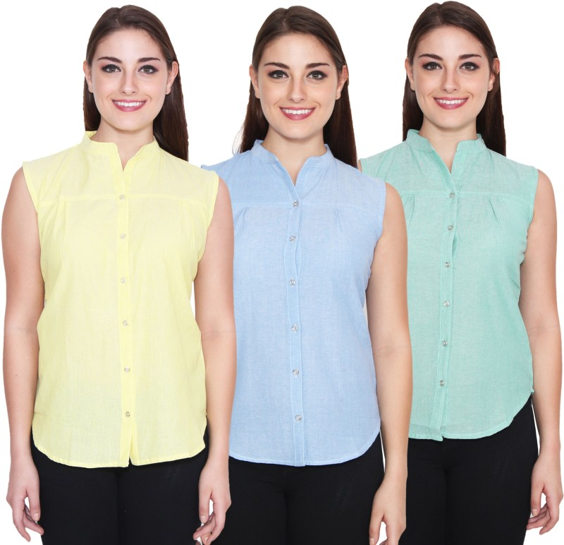 NumBrave Women's Solid Casual Yellow, Blue, Green Shirt(Pack of 3)