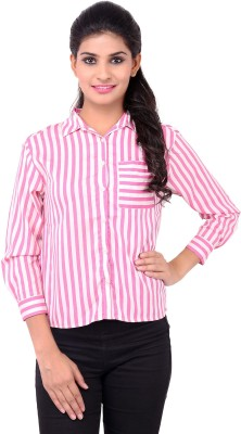 Zachi Women's Striped Casual Pink Shirt