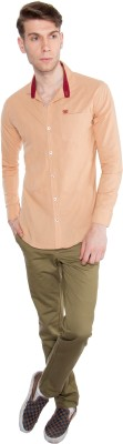 Nine Club Men's Solid Casual Beige Shirt