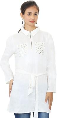 MadeinMyIndia Women's Embellished Casual White Shirt