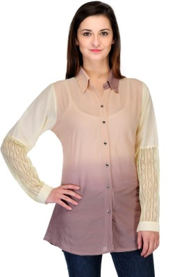 India Inc Women's Solid Casual Beige Shirt