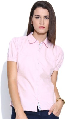 Colors Couture Women's Solid Formal Pink Shirt