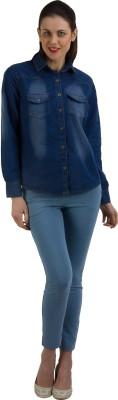 GUDS Women's Self Design Casual Denim Dark Blue Shirt