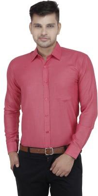 LEAF Men's Solid Formal Pink, Red Shirt