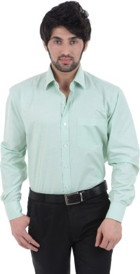 Burdy Men's Solid Formal Light Green Shirt