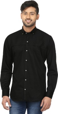 Louis Martin Men's Solid Casual Black Shirt