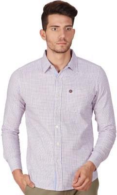 American Swan Men's Checkered Casual Orange Shirt