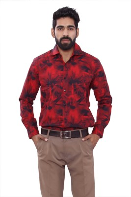 ALLANZO Men's Printed Party Reversible Red Shirt