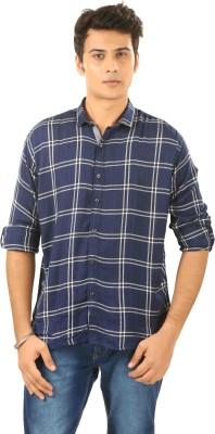 PraadoFashion Men's Checkered Casual Blue, White Shirt