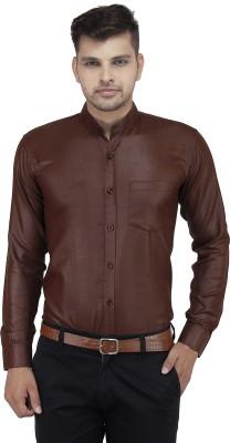 LEAF Men's Solid Formal Brown Shirt