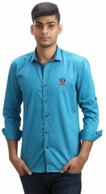 Fashion Bean Men's Solid Casual Light Blue Shirt