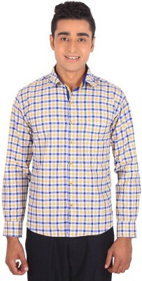 Henry Spark Men's Checkered Casual Yellow Shirt