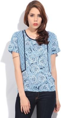 Lee Women's Printed Formal Blue Shirt at flipkart