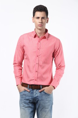 Remo Men's Checkered Casual Pink Shirt