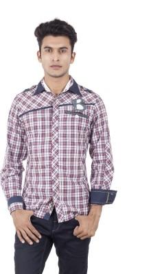 Blacksoul Men's Checkered Casual White, Light Blue Shirt