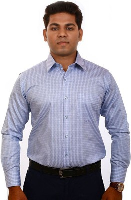 Iconic Men's Checkered Formal Blue Shirt