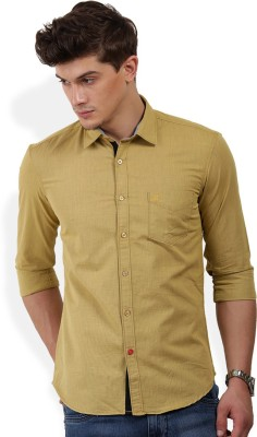 PAN VALLEY Men's Solid Casual Gold Shirt