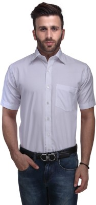 Ausy Men's Solid Casual White Shirt