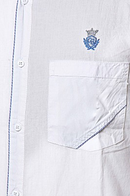 Classic Blues Men's Self Design Casual Reversible White Shirt