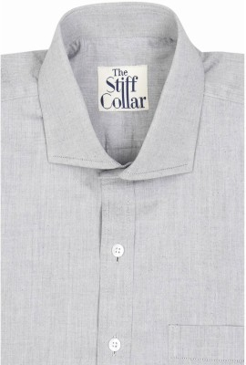 The Stiff Collar Men's Solid Formal Grey Shirt